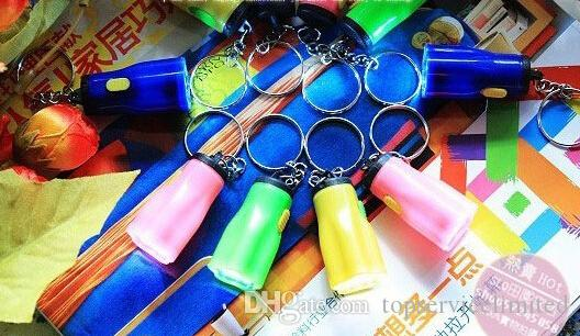 Hiking Camping Outdoor Gear LED Mini Keychain super bright flashlight Torch Flower Shape Key Chain Ring Mixed Colors