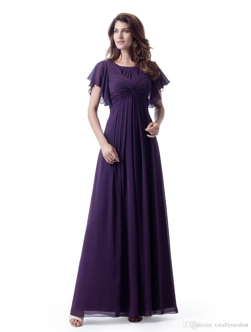 5b6b74e70ae0 Purple A Line Long Modest Bridesmaid Dresses With Flutter Sleeves Ruched  Chiffon Ankle Length LDS Bridesmaid Robes With Empire Waist Cadburys Purple  ...