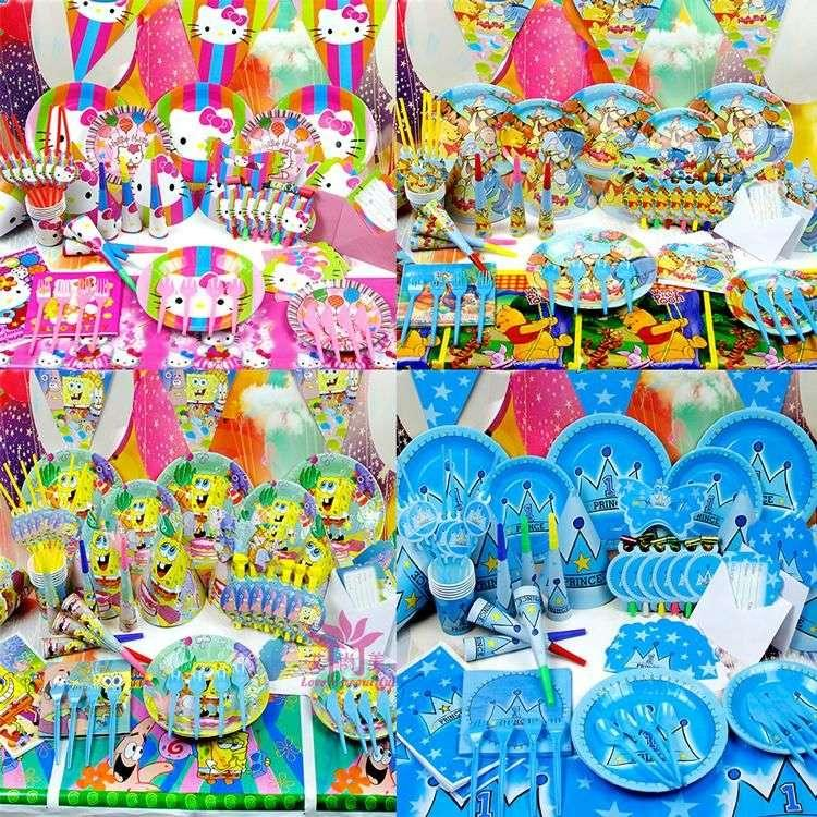 2016 New Kids Birthday Package Party Supplies Set Baby Cartoon Theme Car Spiderman Kitty Princess Etc
