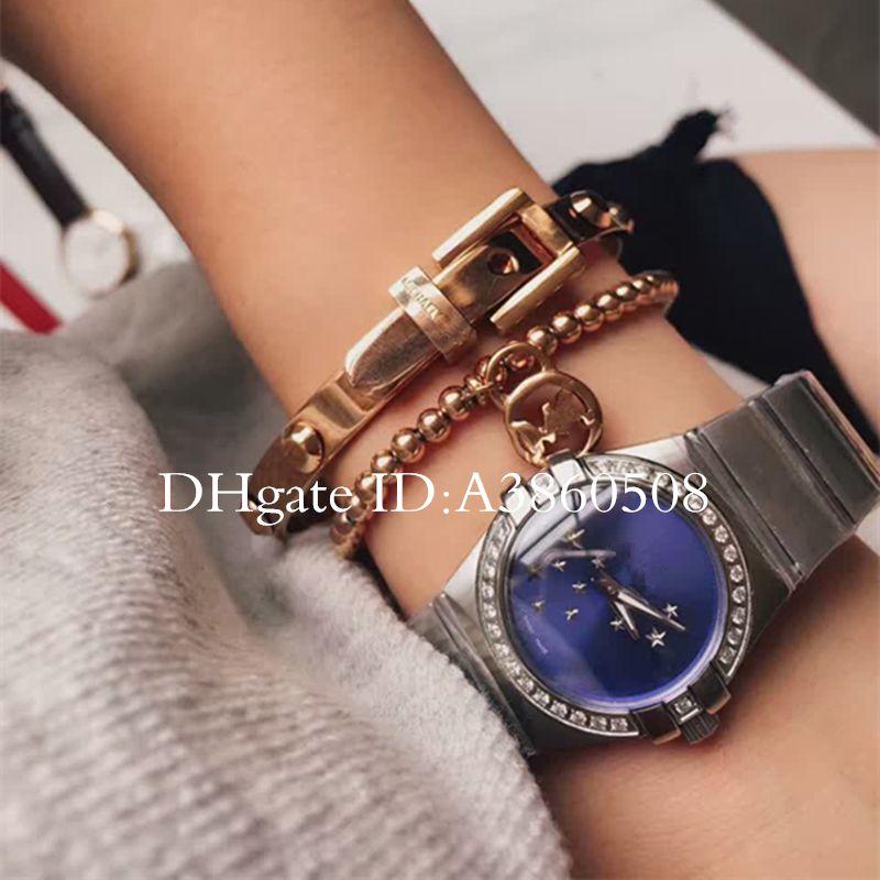 Luxury Women Dress Watches 28mm elegante acero inoxidable Rose Gold Watches alta calidad Lady Rhinestone Quartz relojes de pulsera