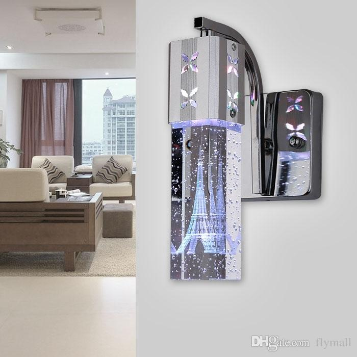 Crystal nuevo y moderno 5W LED de la lámpara de cristal de la burbuja pared del cilindro en forma de columna Sala lámpara de pared espejo de luz RGB de luz blanca cálida de la lámpara