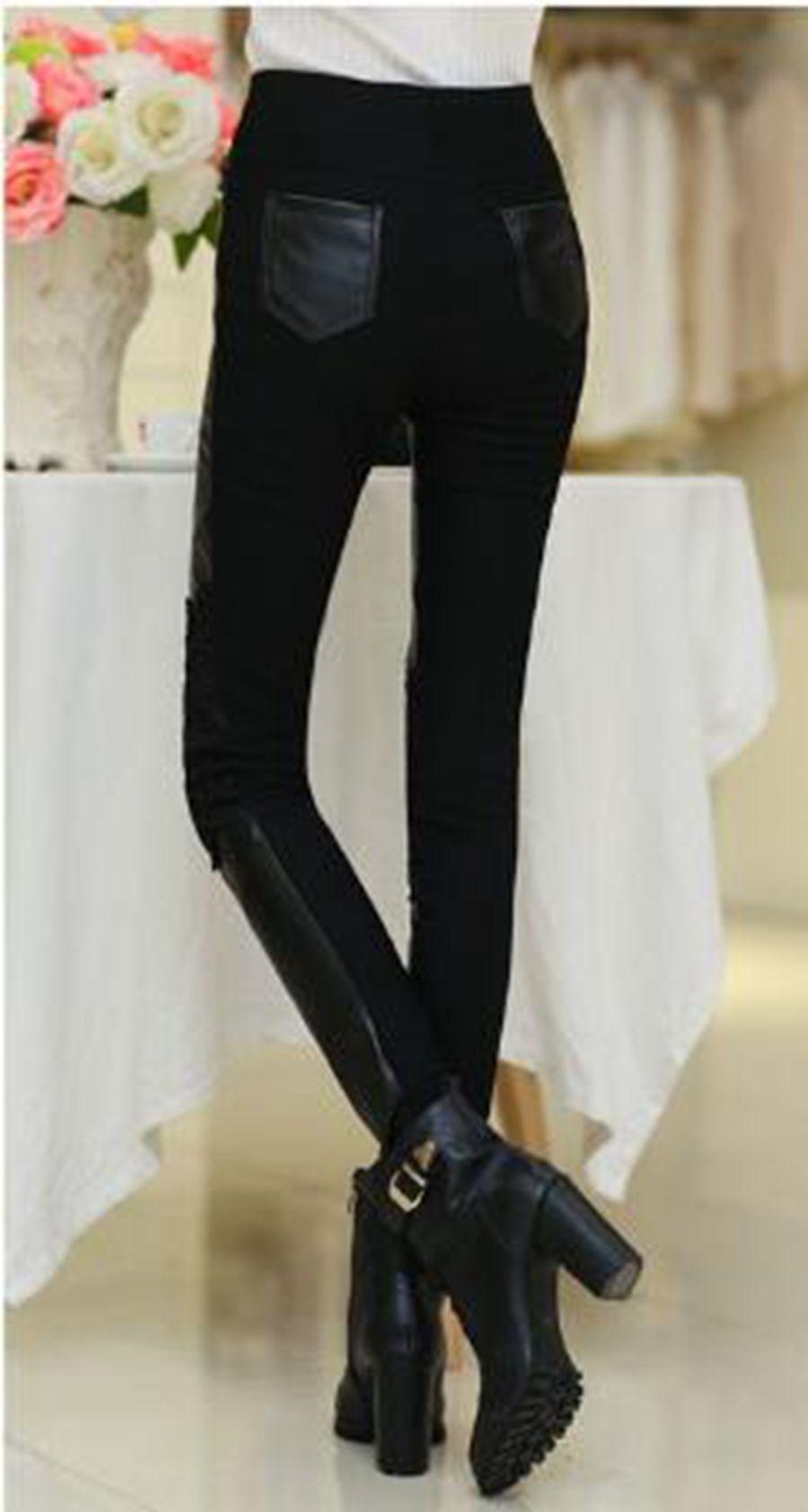 한 판은 본격적인 패션 여성 새로운 겨울 따뜻한 꽉 쇼 얇은 머리 두껍게 splicing 가죽 바지를 카운터. S - 3xl