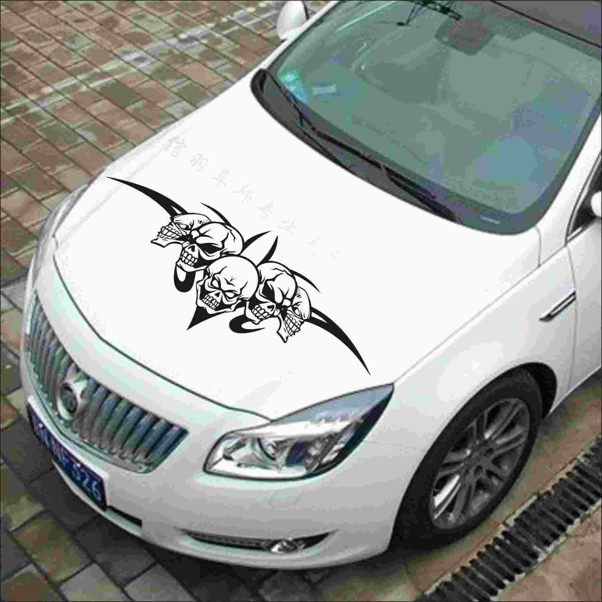 Skull bonnet sticker reflective stickers personalized car stickers modified hood cover car stickers national auto parts oem auto parts from xwt5240