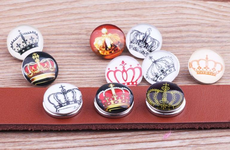 JACK88 Mixed Style 100pcs/lot Coronation Crown Snaps 18 mm Snap Button Fit Ginger Snap Charm Bracelet Snap Button Jewelry N893