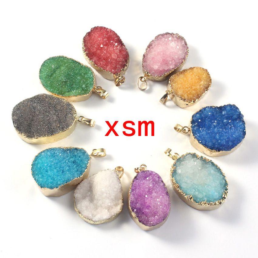 Gold plated Mixed Color Quartz Druzy Pendant, Natural Crystal Drusy Gem stone Pendant For NecklaceRandom in Shape