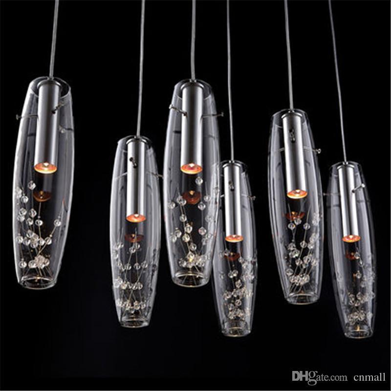 Modern Luxury High Power LED Dining Room Pendant Lamps Glass Vase Bottles Light Crystal Flowers Inside Bar Counter Restaurant Pendant Light