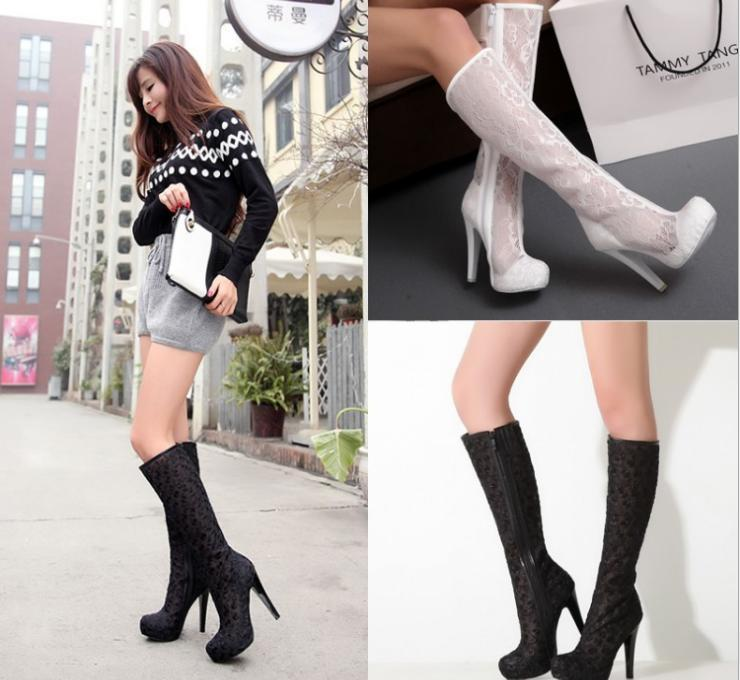 Fashion White Lace Bridal Wedding Boots Shoes Mid Heels Knee Length ...