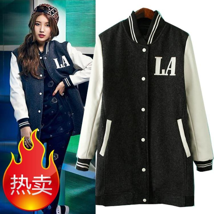 The New MLB Baseball Uniform Girls Long Baseball Jacket Leather ...