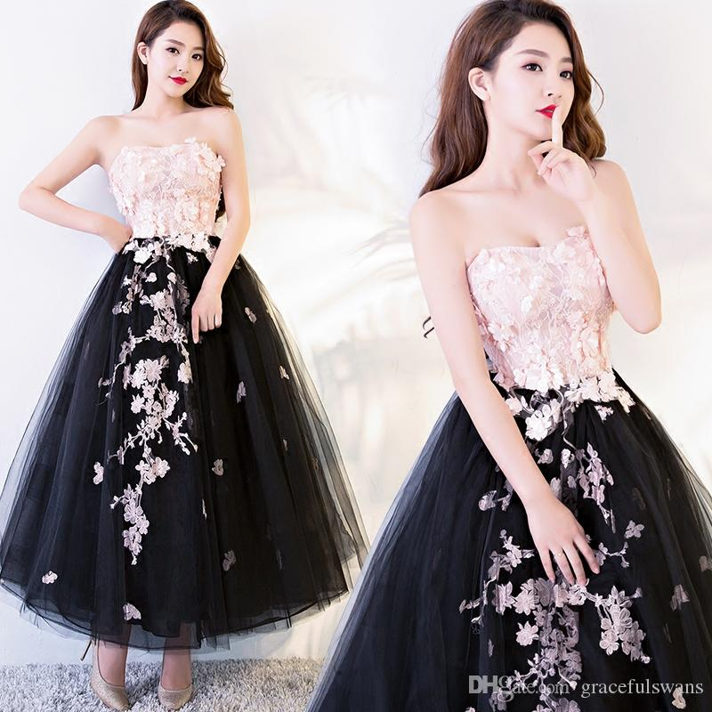 Strapless Ankle Length Fluffy Prom Dresses Pink Flowers Lace