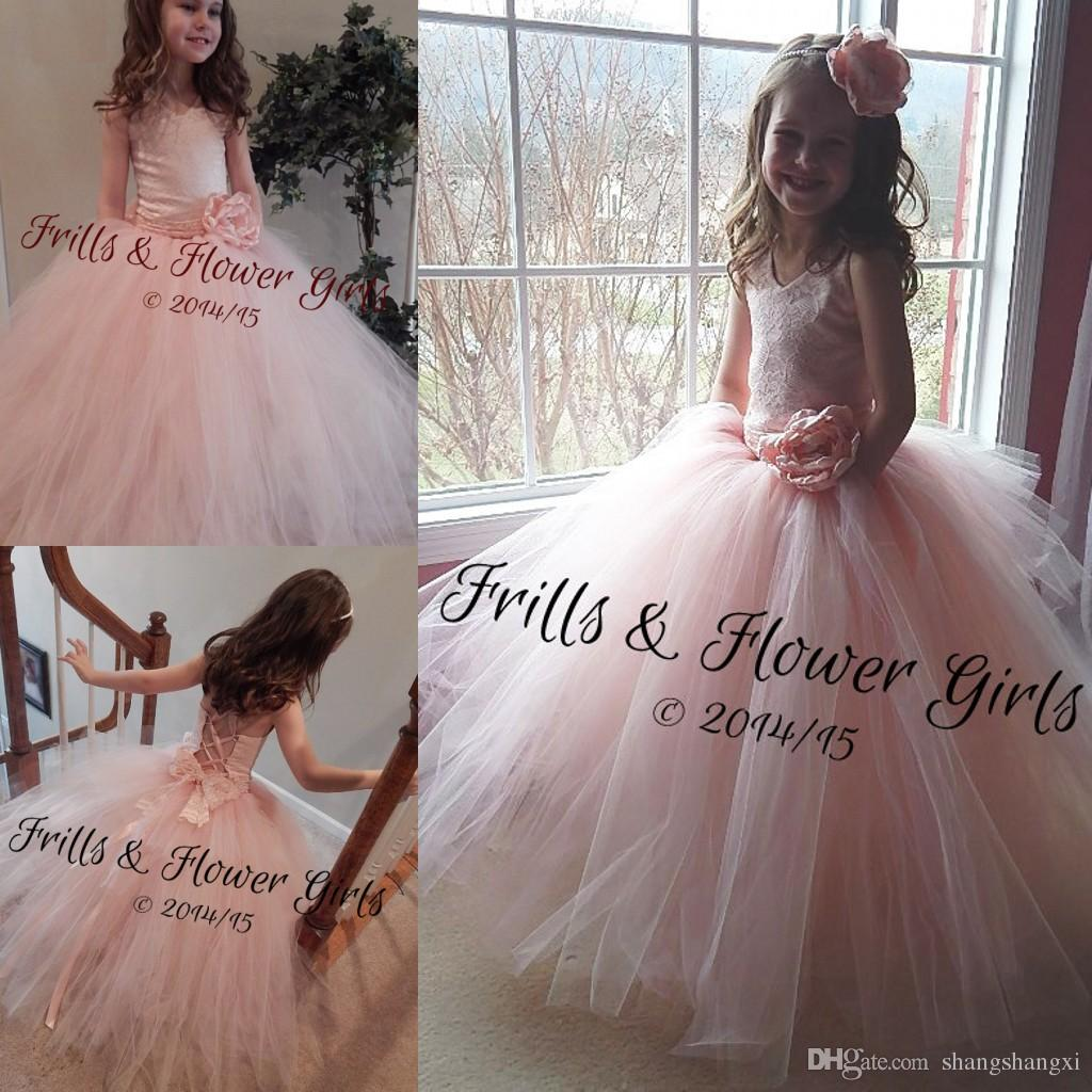 2015 Pageant Dresses For Little Girls Pink Princess Style V Neck