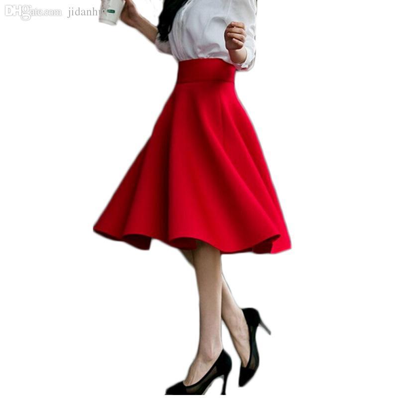 c6819290c5c 2019 Wholesale 5XL Plus Size Skirt High Waisted Skirts Womens White Midi  Skort Pleated Tennis Skirt Saia Preta Pink Black Red Blue Colors 2016 From  Masue