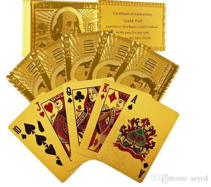 New 24K Karat Gold Foil Plated Poker Playing Card with Wood Box and Certificate Best Deal
