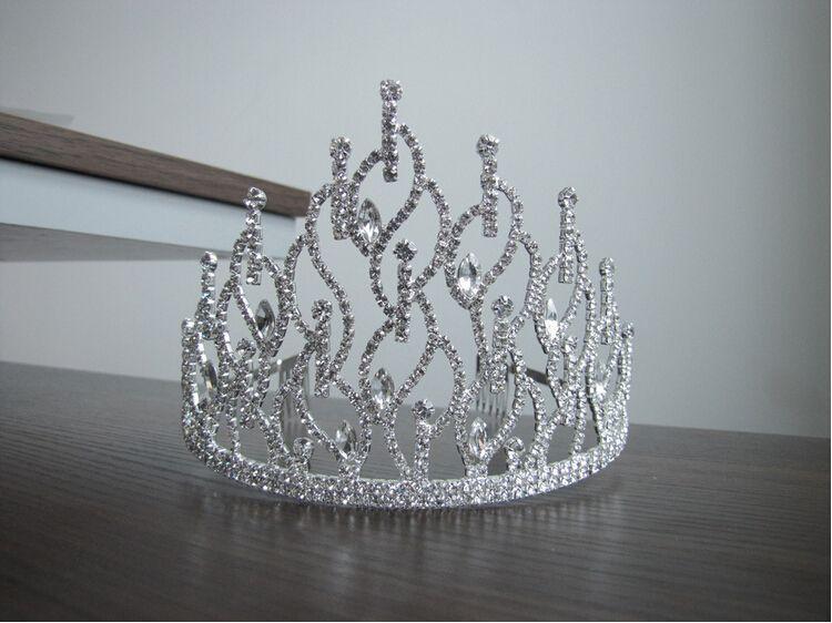 2015 классические капли высокая форма короны горный хрусталь Кристалл Корона свадебные диадемы аксессуары для волос TS000068