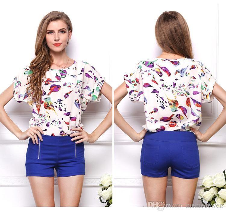472021f11ae 2017 Summer Hot Sale Printed Chiffon Shirt 19 Colours Plus Size Short  Sleeves Women Tops Shirts Blouses Dh 34 Designer Mens T Shirt Really Cool  Sweatshirts ...
