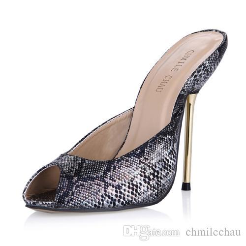 CHMILE CHAU Summer Snakeskin Sexy Dress Party Women Shoes Stiletto Iron  High Heel Peep Toe Fashion Ball Ladies Slide Sandals 3845 FA9 Sandles Wedge  Booties ... 43efd21b18df
