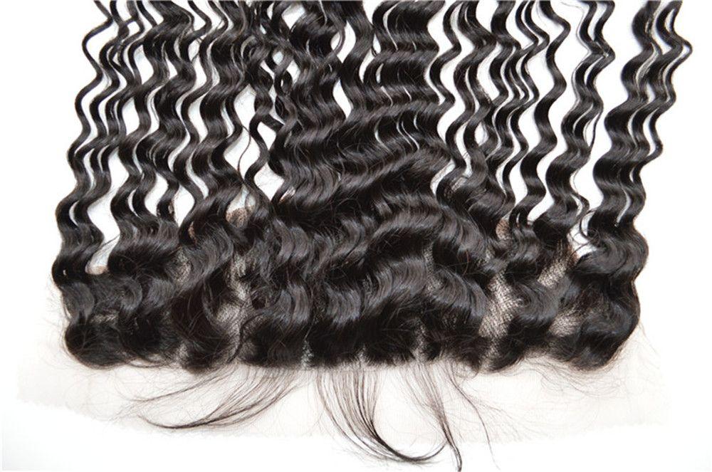 Indian Human Hair Silk Base Frontal Closure 13x4 With Deep Wave Curly Hair Weave Bundles G-EASY Hair