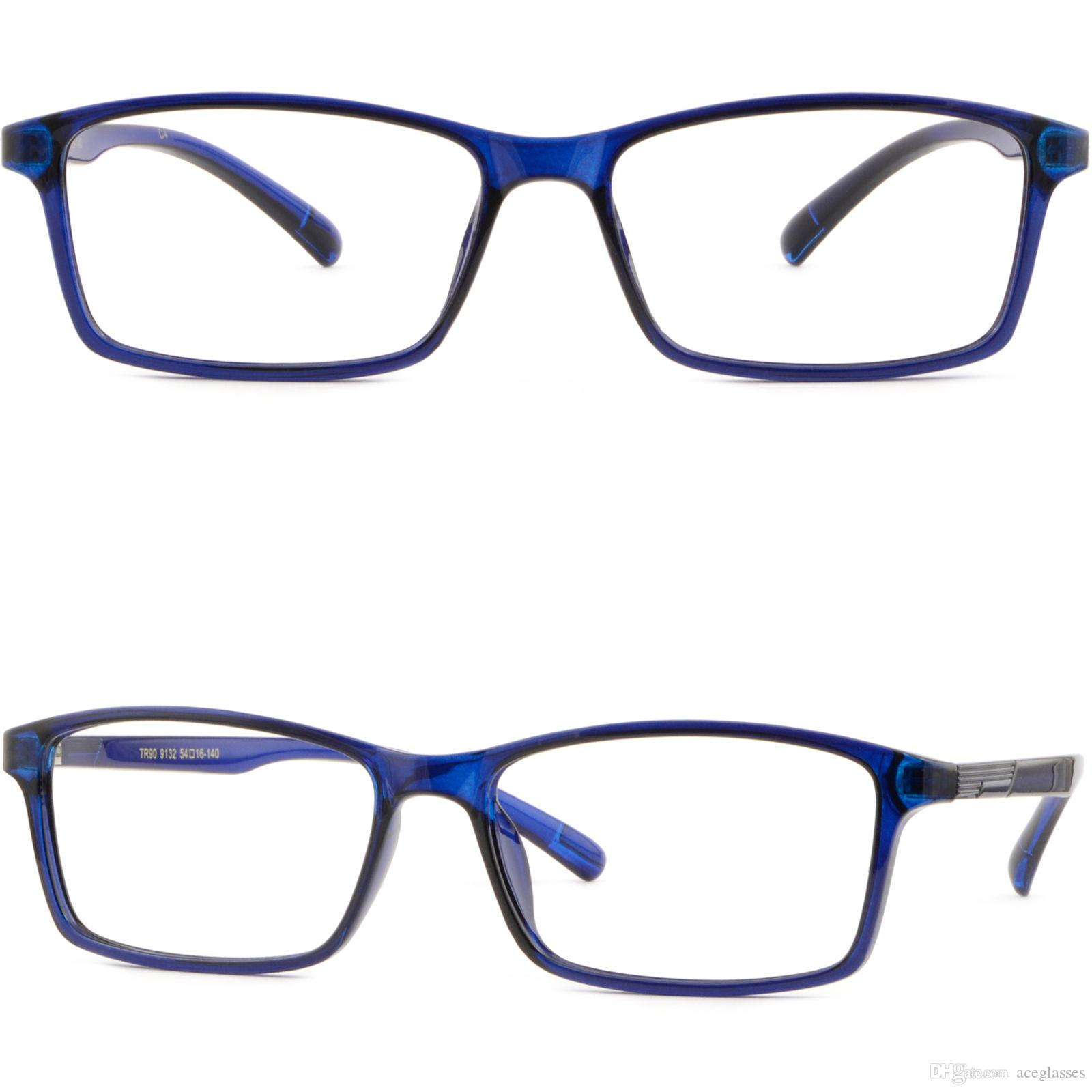 bcdc6b3189 Large Thin Light Plastic Frames Wide TR90 Memory Prescription Glasses Navy  Blue Glasses Frame Online with  23.9 Piece on Aceglasses s Store