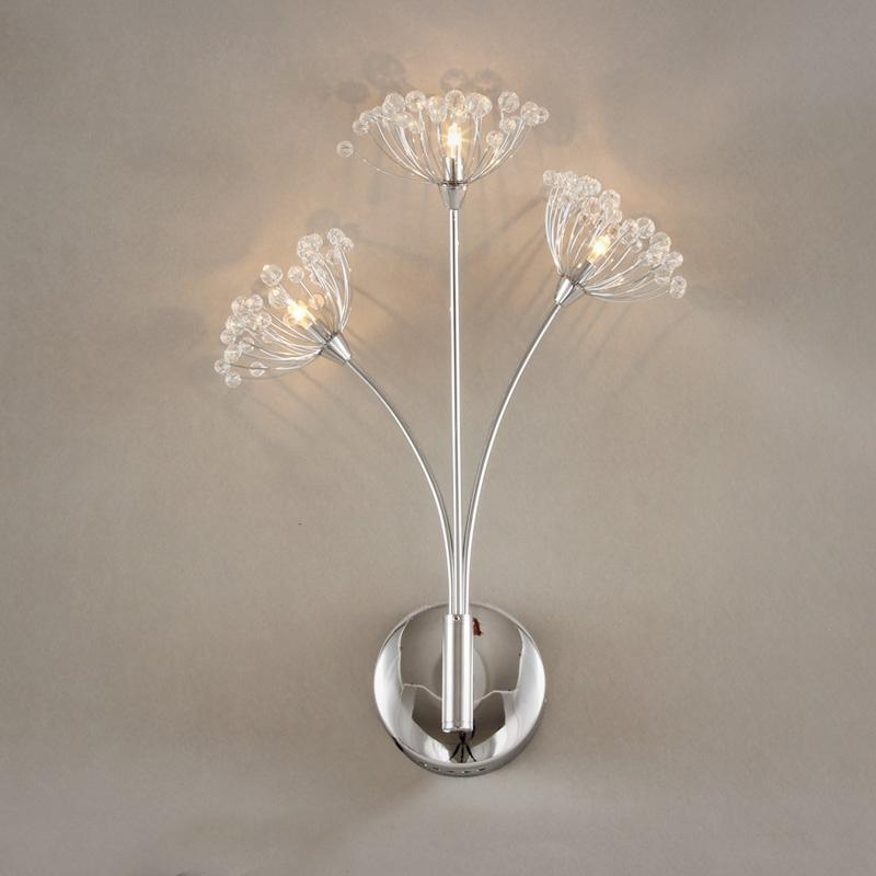 Crystal dandelion bedsides wall sconces romantic cute living room wall lamps hallway balcony for Crystal bathroom wall sconces