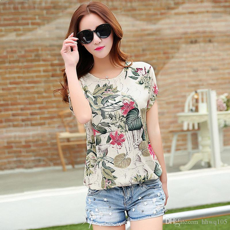 a34401ec7e9 2019 New Printing Chiffon Blouses Flowers Floral Printed Short Sleeve White Blouses  Summer Casual Tee Shirt Tops JCG1106 From Hhwq105