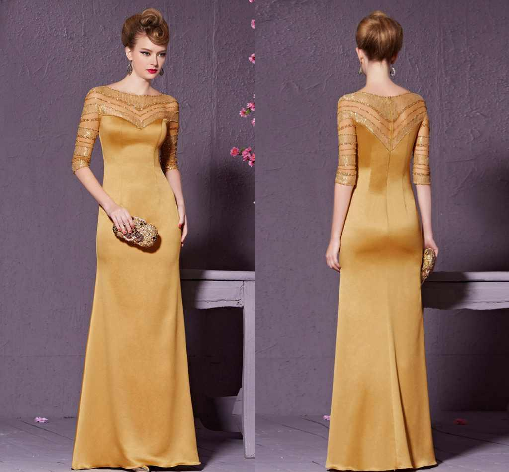Yellow Formal Mother Of Bridal Dresses 1/2 Long Sleeves