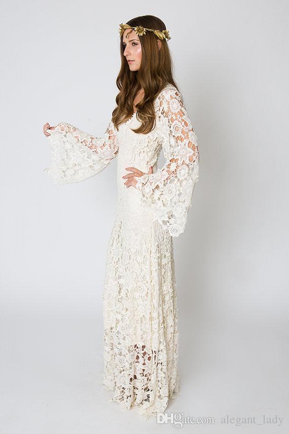 Vestido de boda bohemia con inspiración vintage de la manga de campana de encaje de ganchillo o hippie blanco vestido de novia Boho vestido de encaje maxi bordado