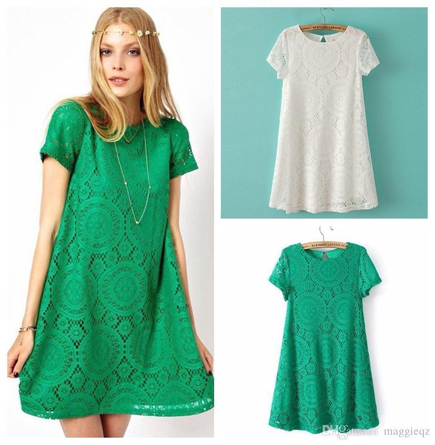 Christmas Women Lace Loose Party Dress Back Button Design Cotton ...