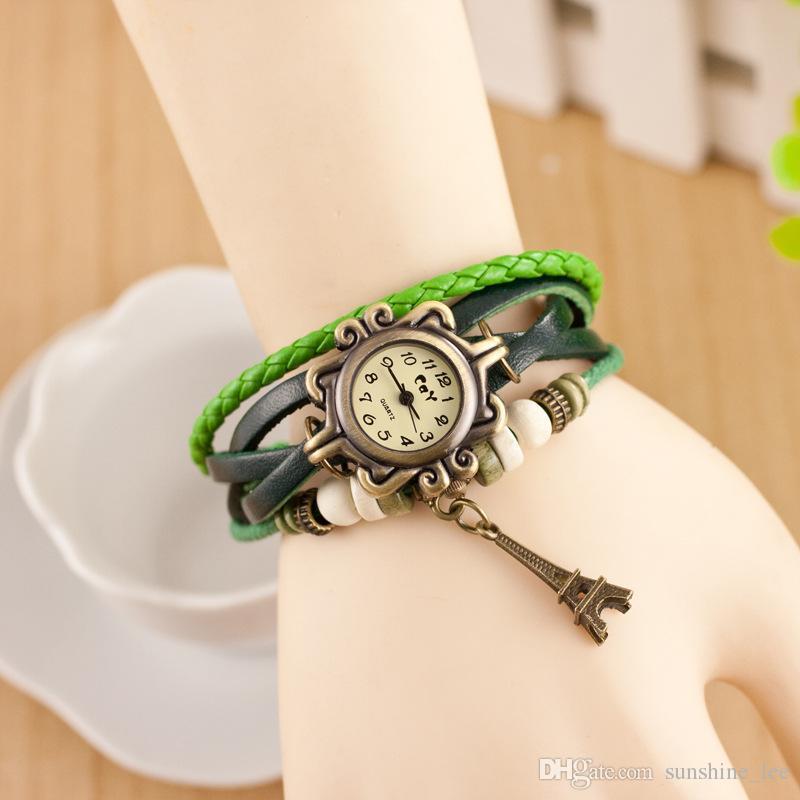Women Leather Wrist Watch charm Bracelet Retro Vintage Eiffel Tower Pendant Weave Wrap Quartz