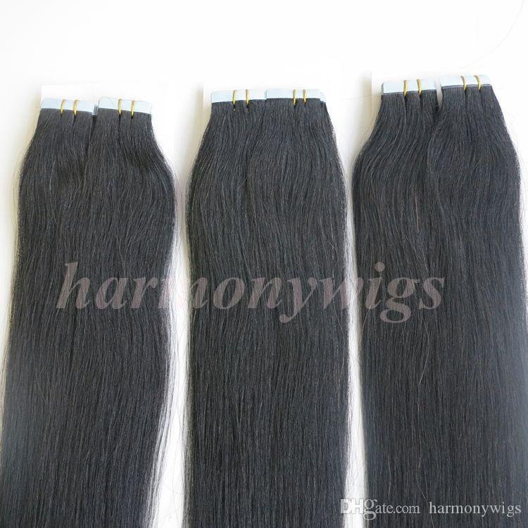 Top Quality 100g /Tape in Hair Extensions Glue Skin Weft Brazilian Indian human hair 18 20 22 24inch #1/Jet Black