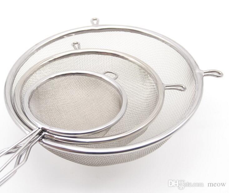 Juego de coladores de cocina Tamiz de colador de malla gruesa de acero inoxidable con ganchos laterales para mantener firme L M S