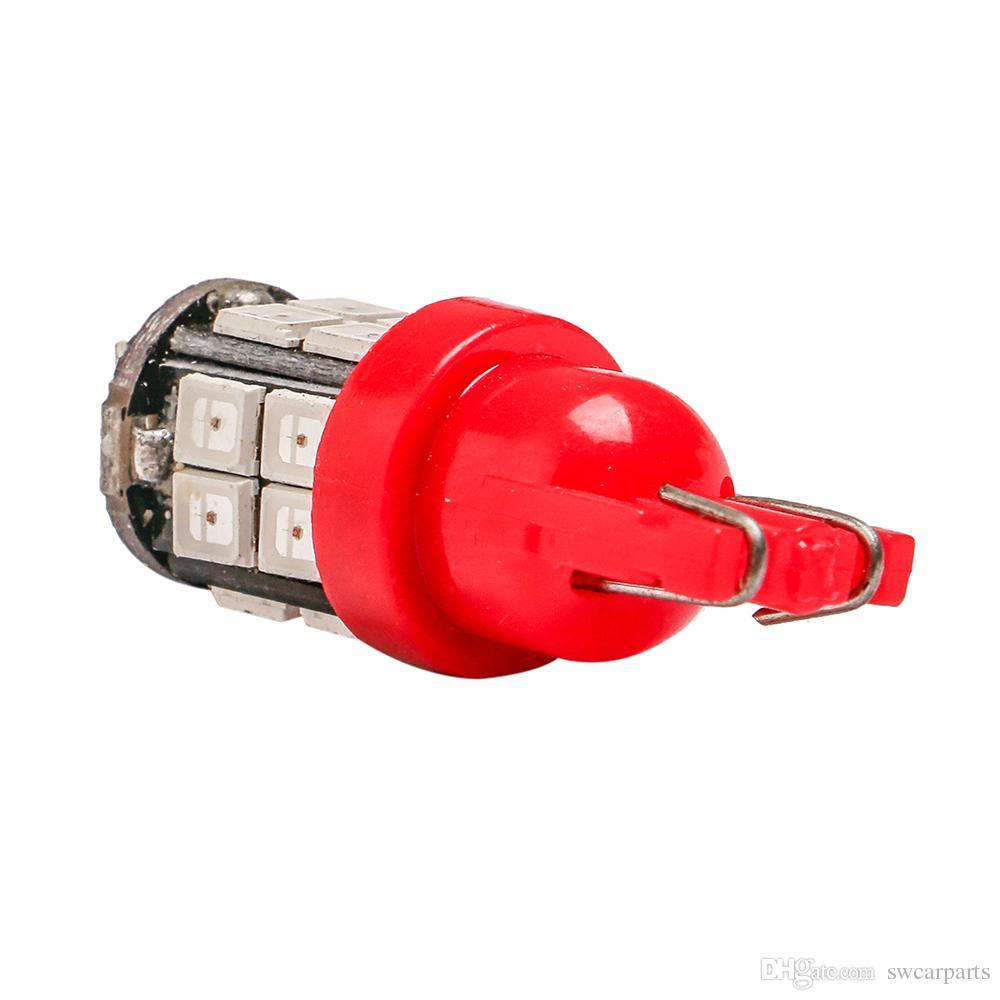 T10 LED Bianco / Blu / Giallo ambra / Verde / Blu ghiaccio 12V 20SMD 2835 W5W Indicatori di direzione laterali auto Mappa della cupola Lampadina della targa