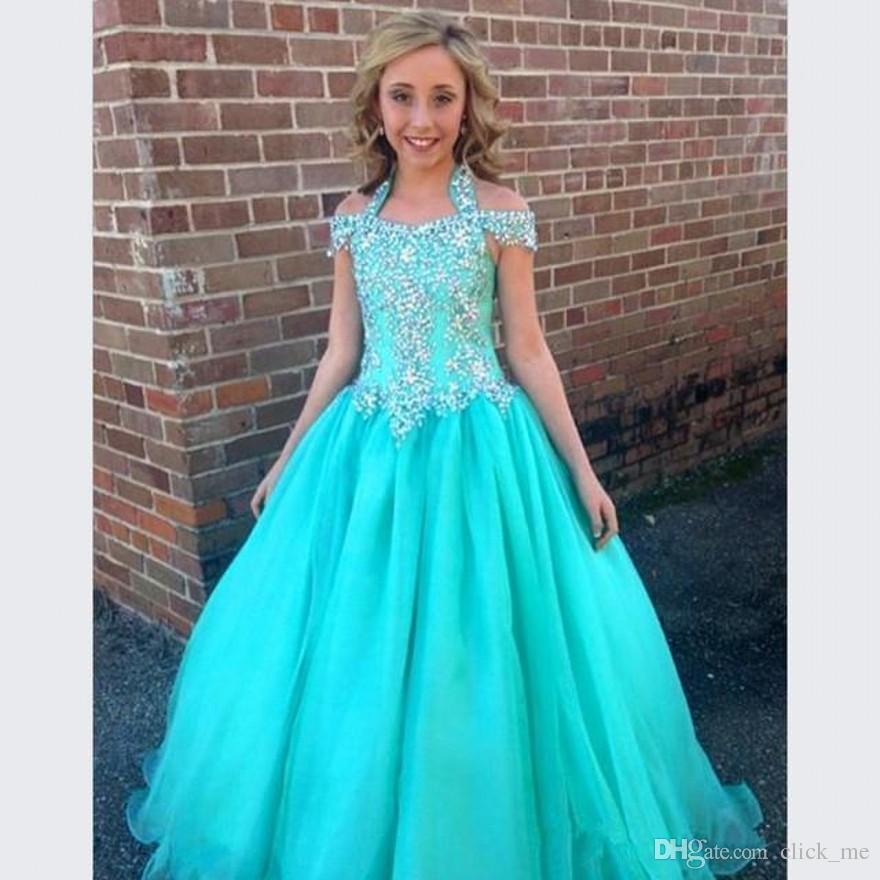 Halter Pageant Vestidos Para Meninas Adolescentes Frisado Uma Linha Vestidos Da Menina de Flor Para Casamentos Júnior Glitz Vestido Primeira Comunhão Crianças Formais