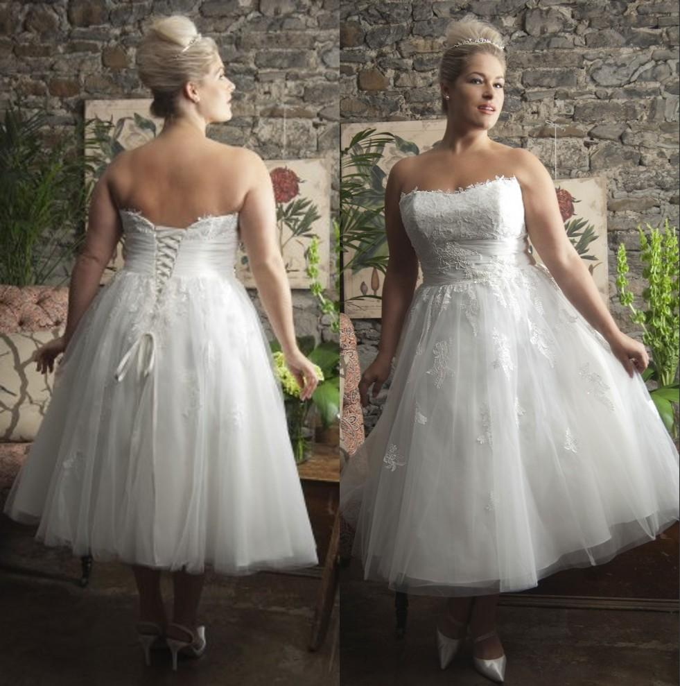 Discount Short Tea Length Plus Size Wedding Dresses Corset Back