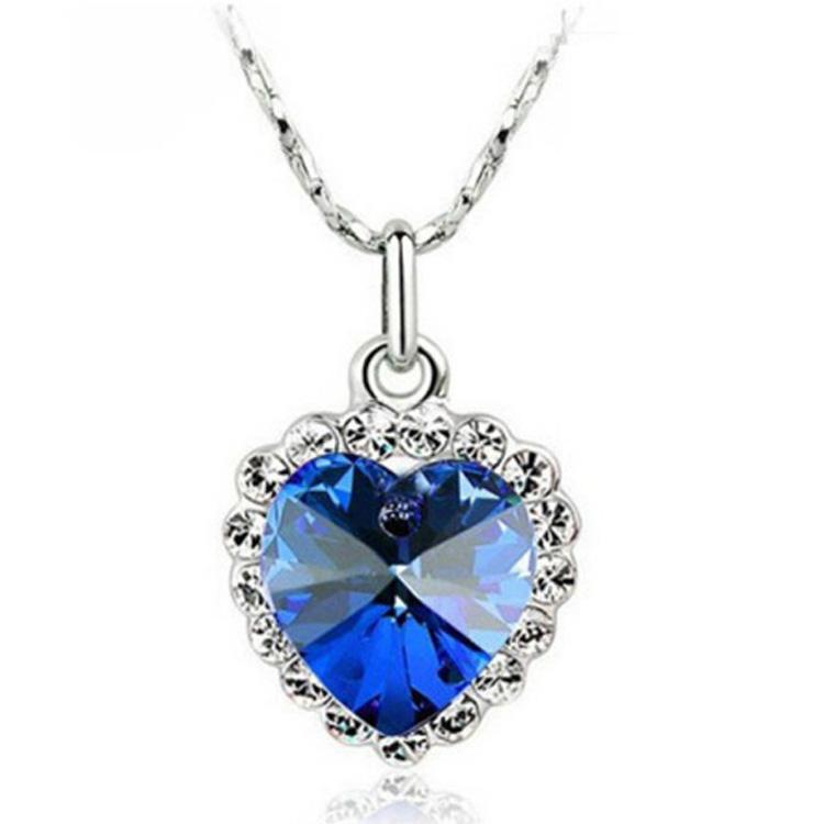 Unique charm Pendant Necklace 18KGP Heart Necklace Heart of the sea Clavicle Necklace pendant charms Jewelry 4018