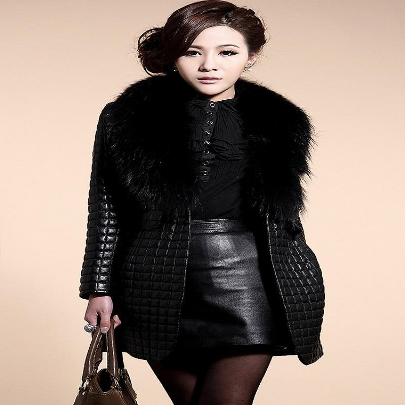 2018 Women Clothing Fancy Coats Fur Collar Coat Synthetic Leather ...