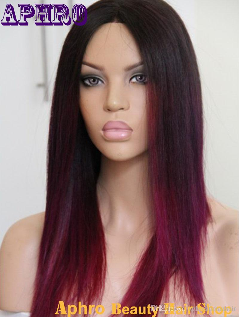 silky straight black to purple red middle part ombre silk top