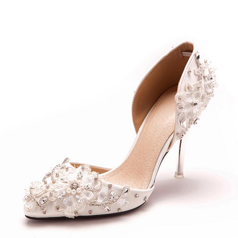 Luxurious Elegant Women Dress Shoes Lace Flower Rhinestone Wedding Dress Shoes Bridal High-heeled Shoes Lady Sexy Sandals Shoes