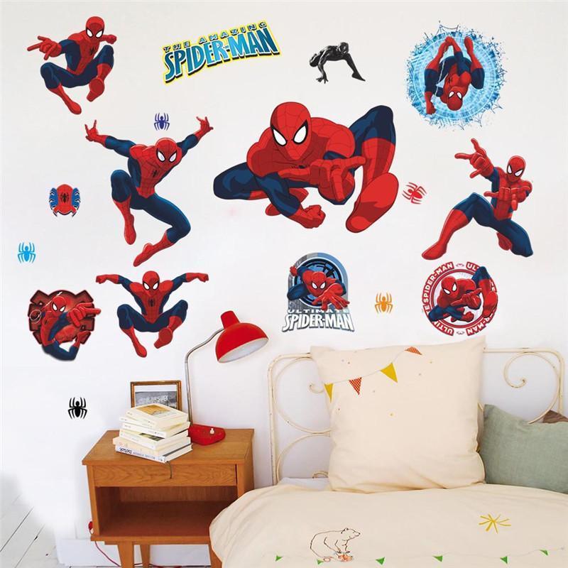 Nursery School Cartoon Spider Man 3d Wall Stickers Children Room ...