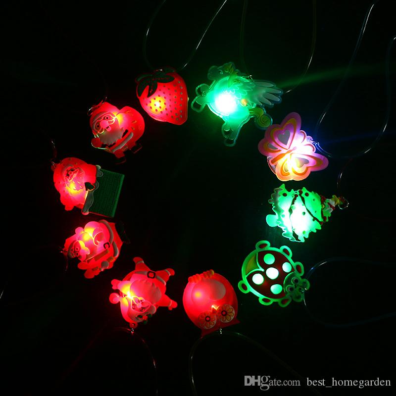 new flashing light up christmas holiday necklaces for kids santa claus christmas tree decorations led xmas gift supplies in random style wholesale