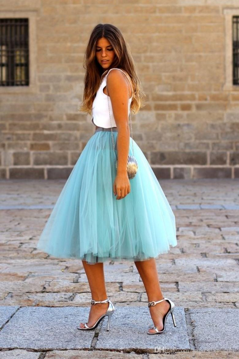 Fashion Short Skirts For Women Knee Length Tulle Blue Tutu Skirts Summer Dresses Formal Skirt Custom Made Mini Skirt Maxi Skirt