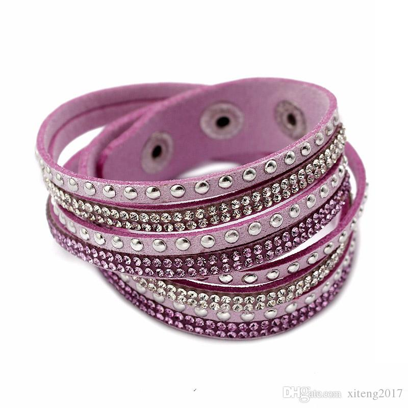 Women Full Rhinestone Cool Leather Wrap Wristband Cuff Punk Bracelet Bangles Fit Party Gift Winding bracelet Snap Button Jewelry