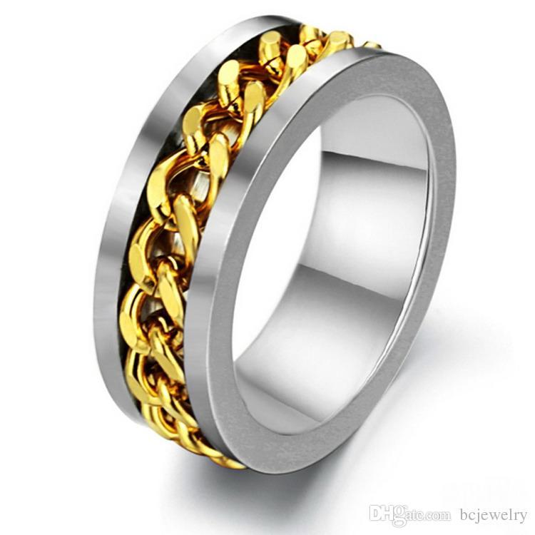 قبل الميلاد مجوهرات سبينر سلسلة الأزياء الدائري للرجال الذهب الأسود الفضة الفولاذ المقاوم للصدأ سلسلة الجملة رجالي مجوهرات BC-0069