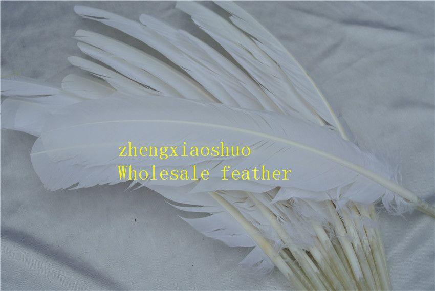 100 unids 12-14 pulgadas 30-35 cm blanco pluma de pavo pluma redonda para fuente de la fiesta del acontecimiento festivo fuente decoración decoración