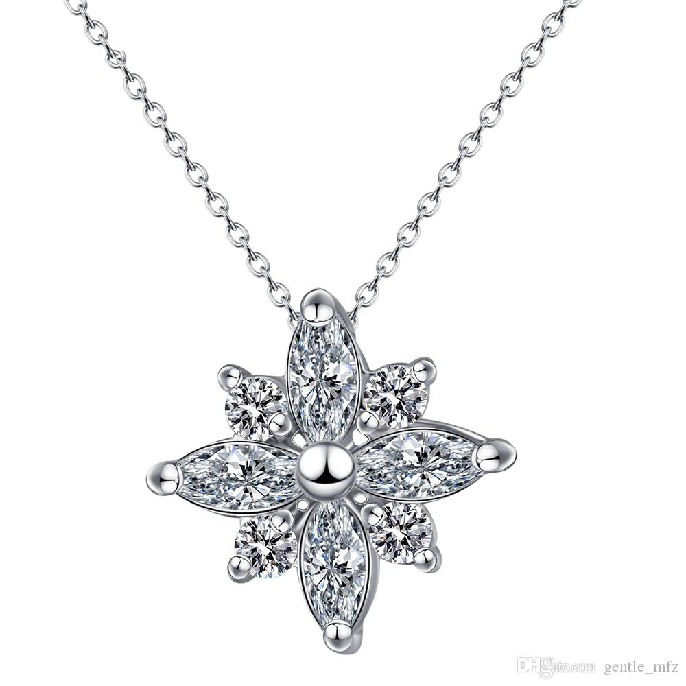 2017 new Top Quality Crystal Snowflake Necklace Rose Gold Color Fashion Jewellery Nickel Free Pendant Crystal