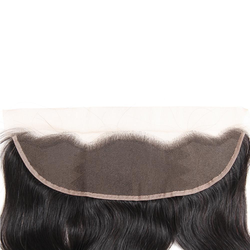 Feixes de cabelo humano do Virgin brasileiro da onda do corpo com o fechamento frontal do laço Extensões naturais do cabelo humano da onda malaia peruana brasileira do corpo