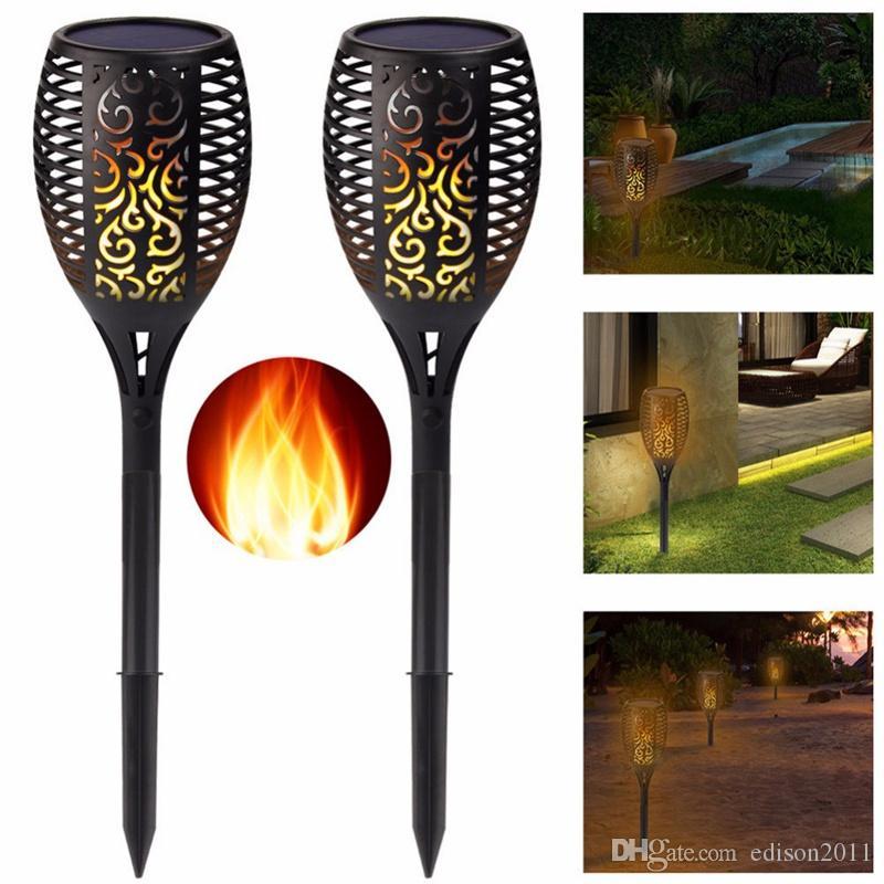 Decken- & Wandleuchten Fein Solar Garten Tiki Taschenlampe 96 Led Flackernder Pfad Tanzende Flammen Lichter