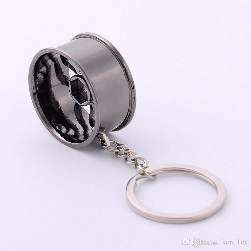 New Fashion Wheel Rim Model Key Charms Bag Keyrings Yellow Gold Color Key Chain Men Valentine's Day Gift