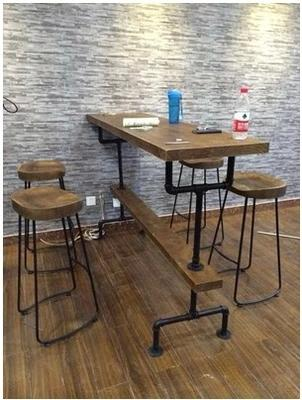 Good 2018 Loft Style Wood Bar Tables And Chairs Vintage Wrought Iron Bar Chairs  Casual Coffee Table Bar Stools From Chenyuanping, $480.0 | Dhgate.Com