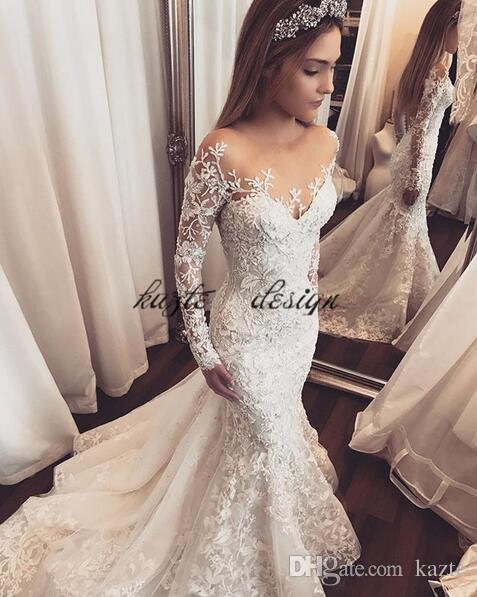b209352ee50a Lace Floral Mermaid Long Sleeve Wedding Dresses 2018 Sheer Neck Amazing  Detail Dubai Arabic Plus Size Custom Wedding Bridal Gowns Canada 2019 From  Kazte, ...