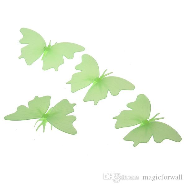 Plastic Luminous Butterfly WallDecor Glow in the Dark Butterfly Fluororescent Decal Art Noctilucent Decorative Wall Stickers