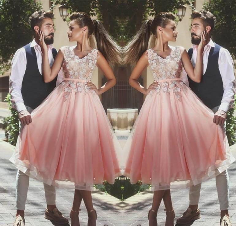2018 Cheap Arabic Dubai Said Mhamad Pink Cocktail Dress A Line V ...